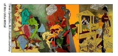 Three_Dynasties,_M.F._Husain_courtesy_of_Mrs_Usha_Mittal