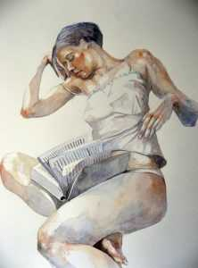 Portrait, watercolours, figurative, art, painting, Adriana,  Raymond Dominic Agius