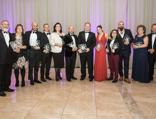 The winners of last year's ARC LGBTI Awards, including Prime Minister Joseph Muscat