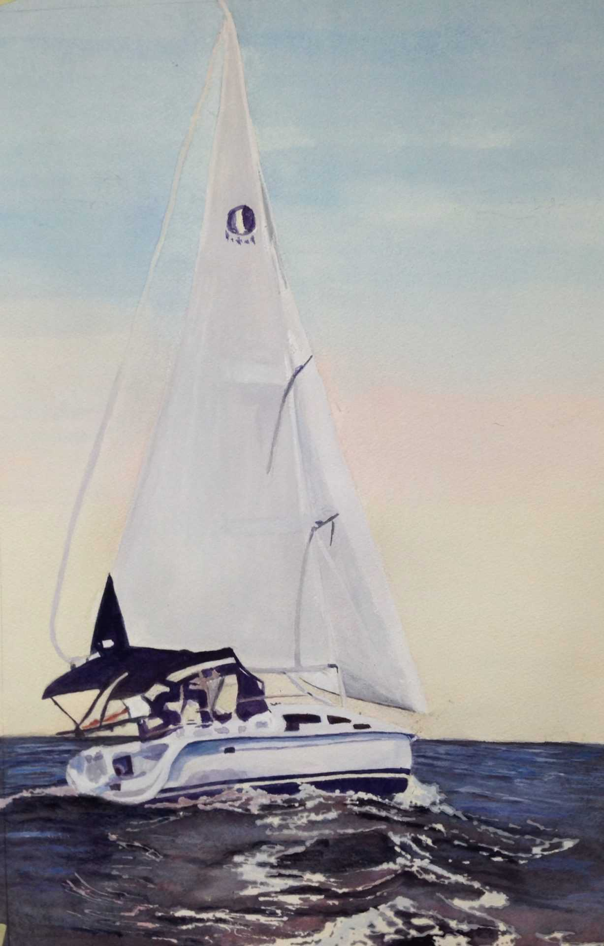 Myriam Darmanin - Sailing boat in watercolour
