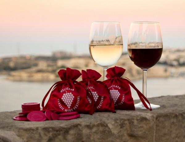Delicata wine festival glasses, wine coins and purses