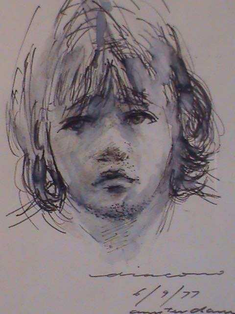 Portrait study of Andrew Diacono, Pen and ink, signed 1977, 24 x 18 cm