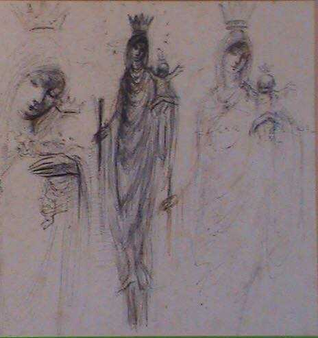 Studies of Our Lady, pen and ink, 26x 26cm. signed 1976