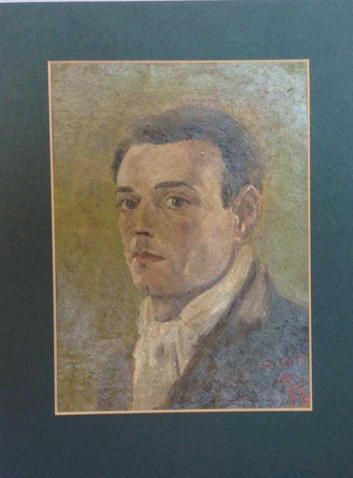 Victor self portrait, oil on board 18 x 24 cm. Signed Feb 1944