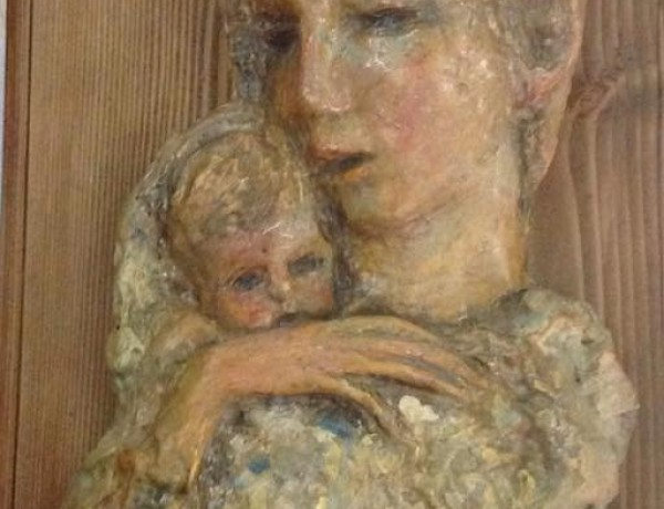Young Mother and child patinated plaster of Paris 43x18cm signed c. 1995