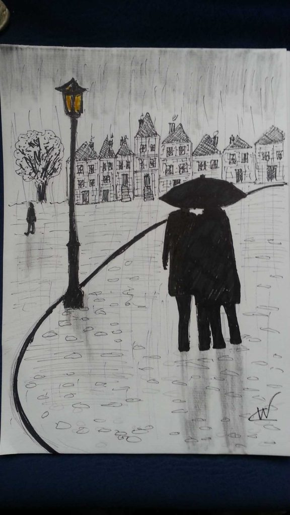 Miserable Day Pencil, Pen and ink