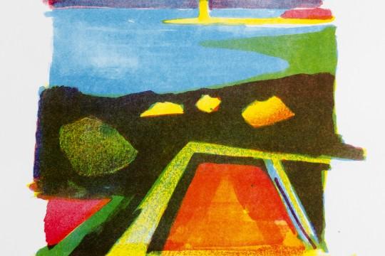 Baħar iċ-Ċagħaq (Colour lithography)  by Jesmond Vassallo
