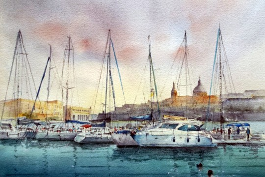 Sailing boats at Ta' Xbiex, by Jacqueline Agius